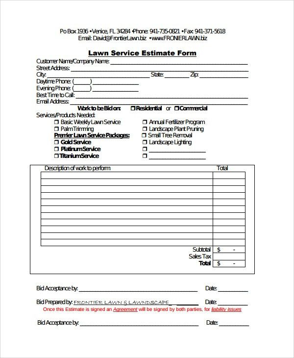 Sample Service Estimate Template - 7+ Free Documents Download in ...