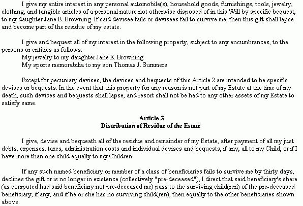 Example Document for Short Form Last Will