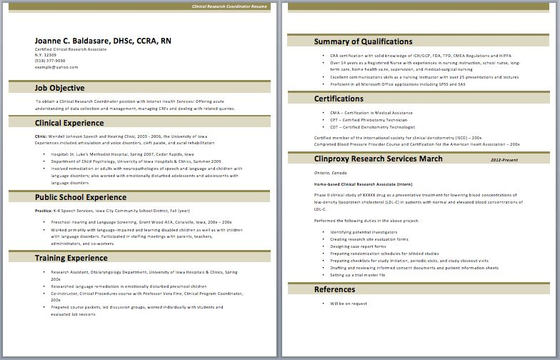 Clinical Research Coordinator Resume – Best Resume Examples
