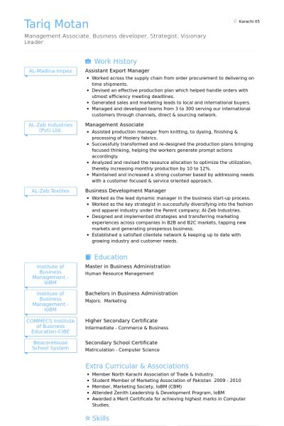 Export Manager Resume samples - VisualCV resume samples database