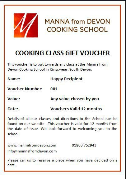 Voucher Sample - Manna From Devon Cooking School