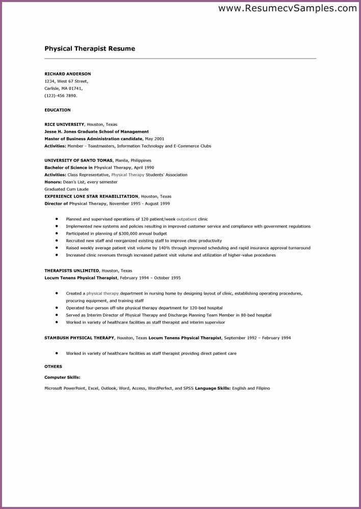 PHYSICAL THERAPIST RESUME | designproposalexample.com