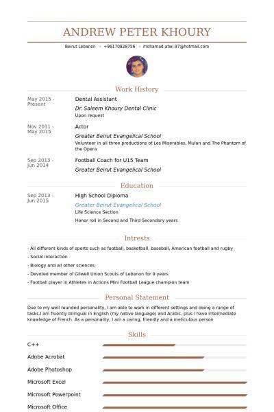Dental Assistant Resume samples - VisualCV resume samples database