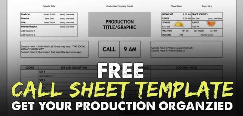 FREE Download Call Sheet Template: The Only One You'll Ever Need