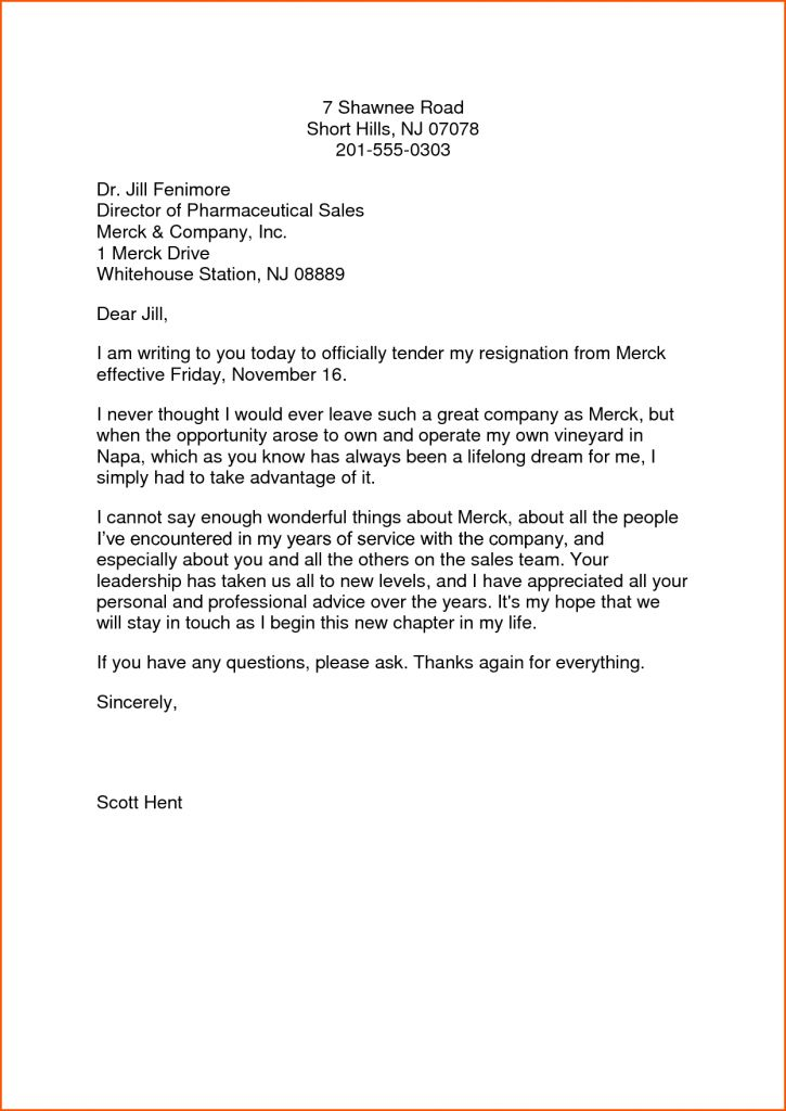 Resignation Letter : Resignation Letter Format For It Company The ...