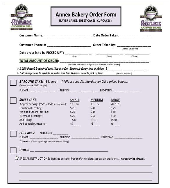 15+ Bakery Order Templates – Free Sample, Example, Format Download ...