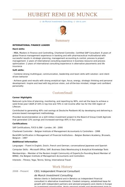 Financial Consultant Resume samples - VisualCV resume samples database