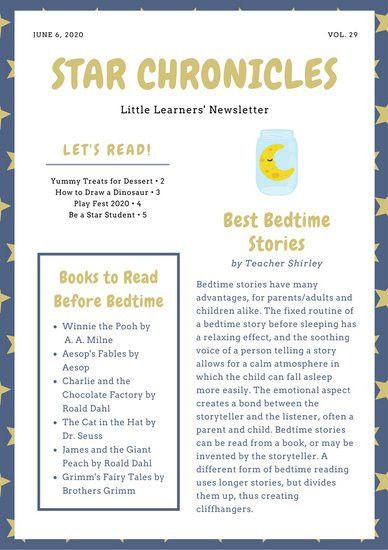 Blue and Yellow Illustrated Stars Preschool Newsletter - Templates ...