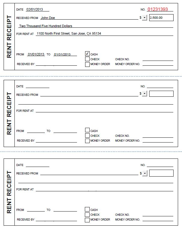 Printable Rent Receipt in PDF Form