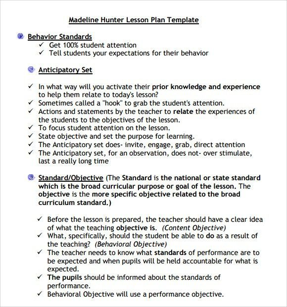 LESSON PLAN HUNTER MODEL | Model