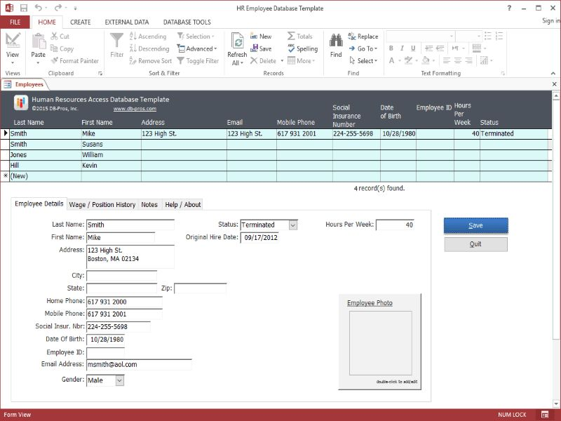 HR Employee MS Access Database Template 1.1.0 Download