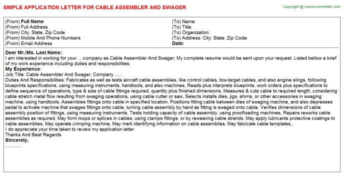 Cable Assembler And Swager Application Letter