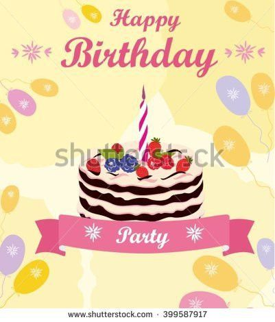 Vector Colorful Illustration Happy Birthday Template Stock Vector ...