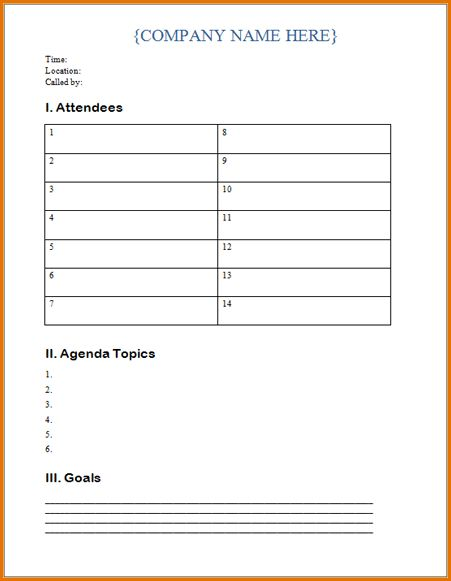 10+ meeting agenda word template | Job Resumes Word