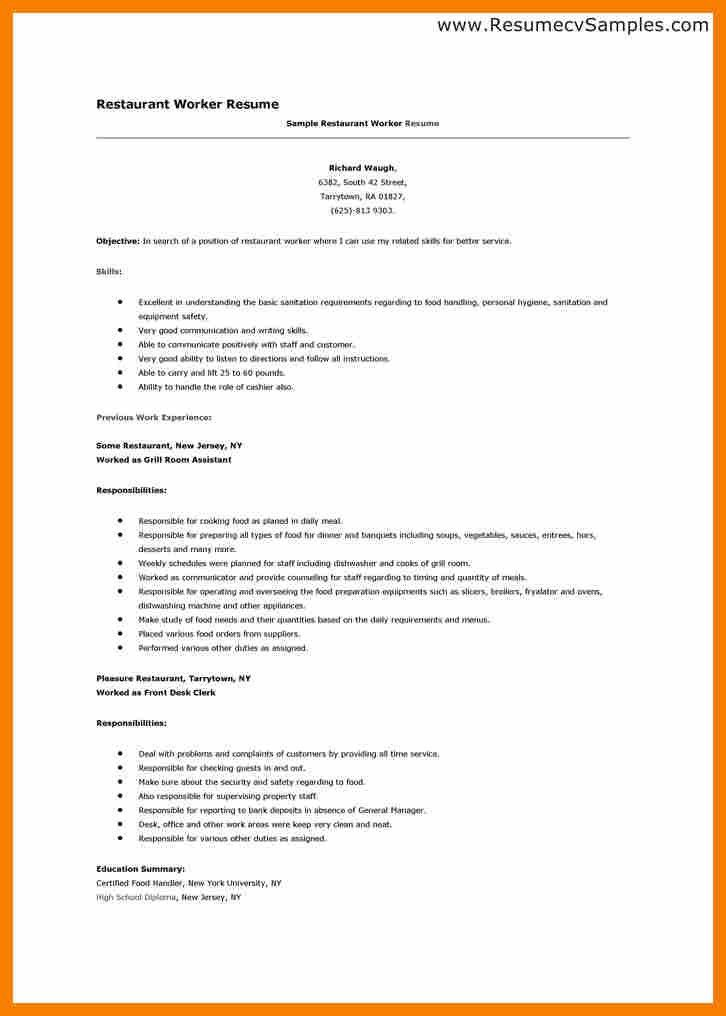 Restaurant Cv Example.excelllent In Understanding The Basic ...
