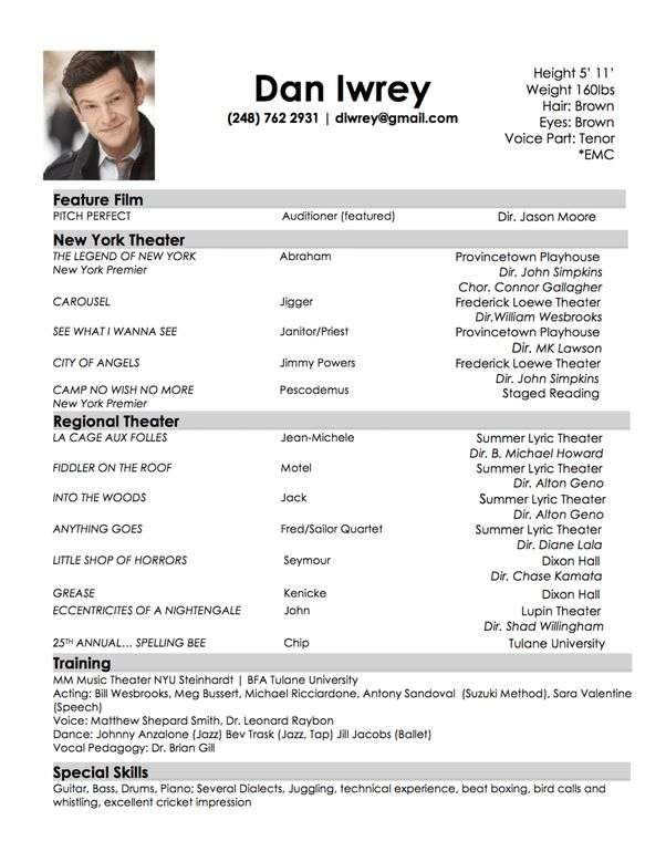 acting resumes for beginners