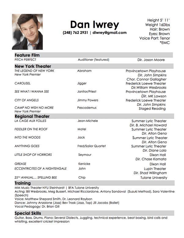 sample actor resume beginner beginning actor resume sample