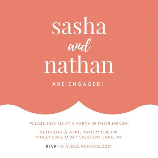Salmon Orange Engagement Party Invitation - Templates by Canva