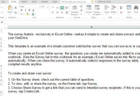 survey templates in excel