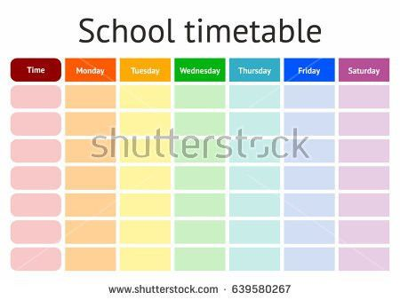 Template School Timetable Illustration Includes Hand Stock Vector ...