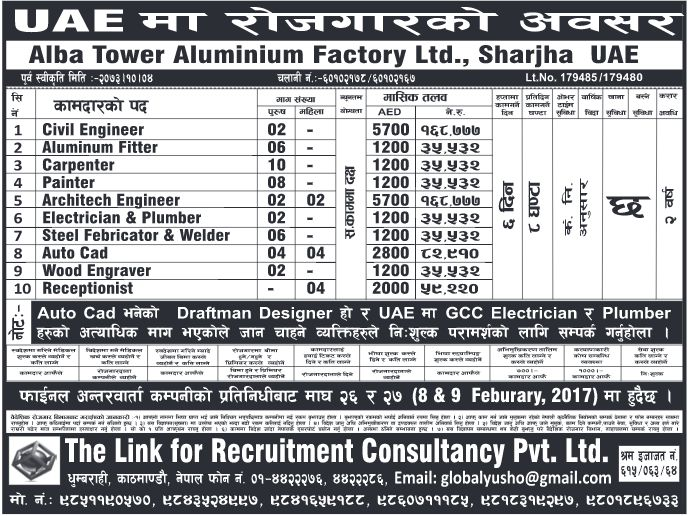 Jobs in UAE, Alba Tower Aluminium Factory Ltd. Company