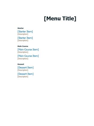 Party menu - Office Templates