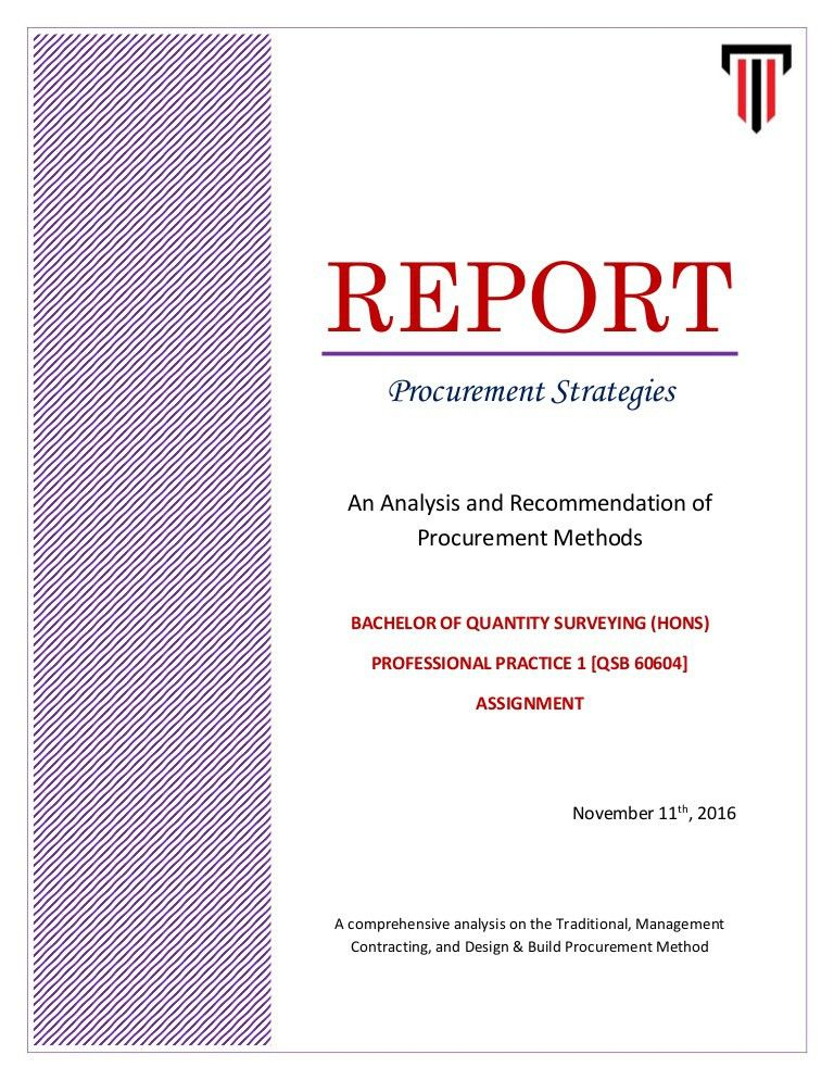 A Report on Procurement Strategies - PP1