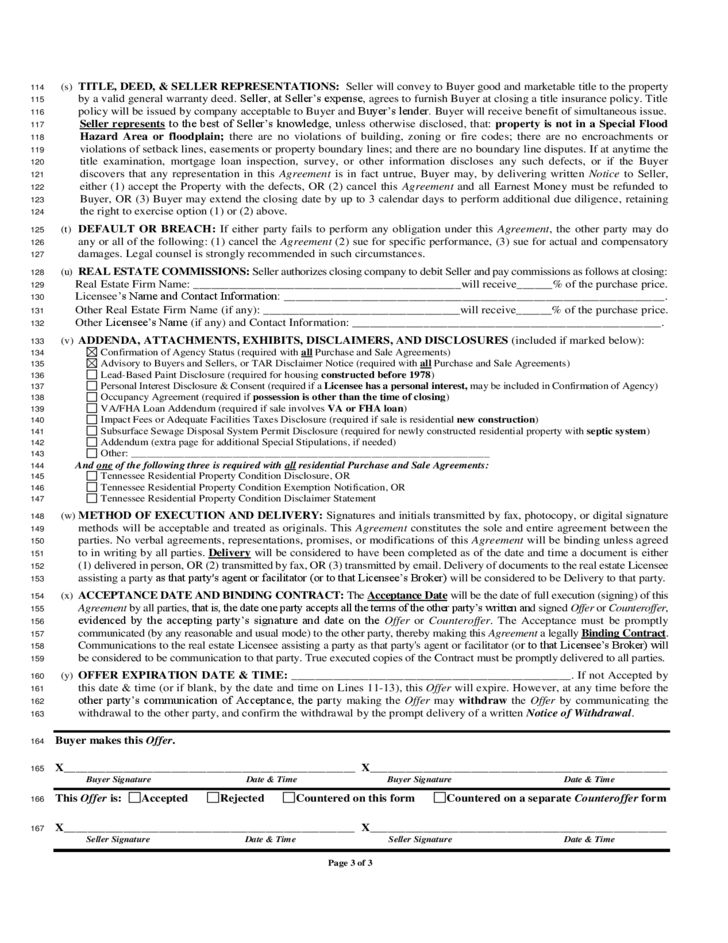 House Sale Contract Form - Tennessee Free Download