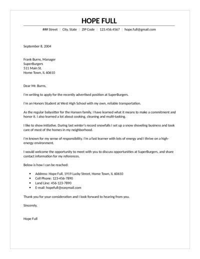 Food Cover Letter