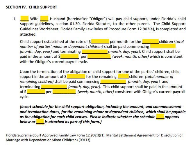 Form 12.902f1 Marital Settlement Agreement Divorce With Children ...