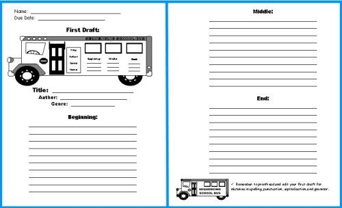 School Bus Book Report Project: templates, worksheets, grading ...
