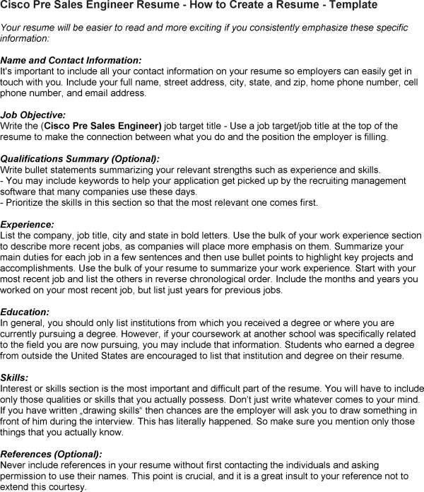 Cisco Pre Sales Engineer Cover Letter