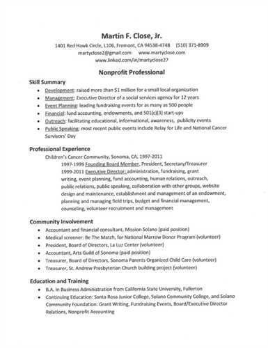 "Sample Nonprofit <a href=""http://resume.tcdhalls.com/resume.html ..."