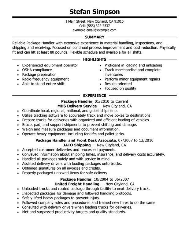 ups package handler description resume package handler resume ...