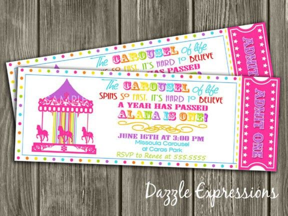 PRintable Carousel Ticket Birthday Invitation   Pink Rainbow ...