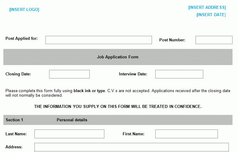 Job Application Form Template - Bizorb