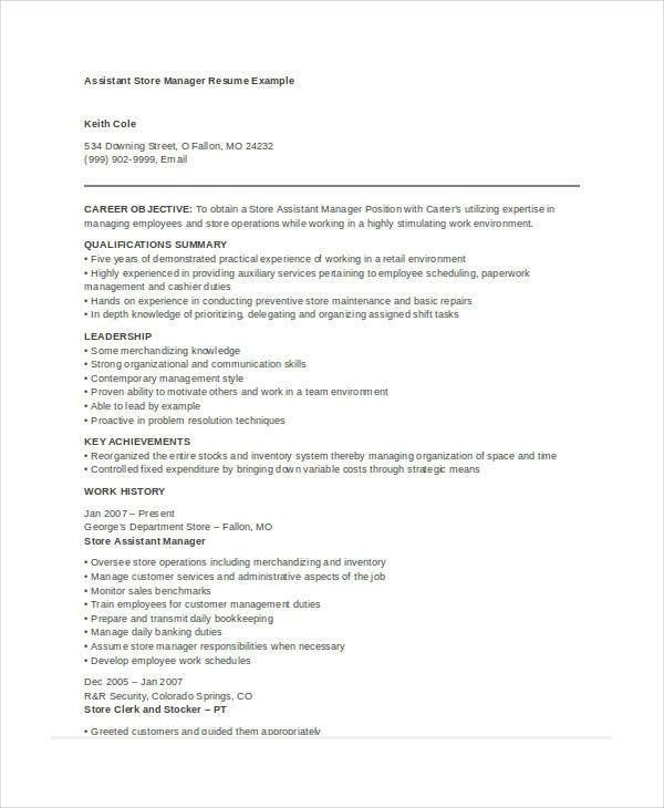 Assistant Store Manager Resume Unforgettable Assistant Store