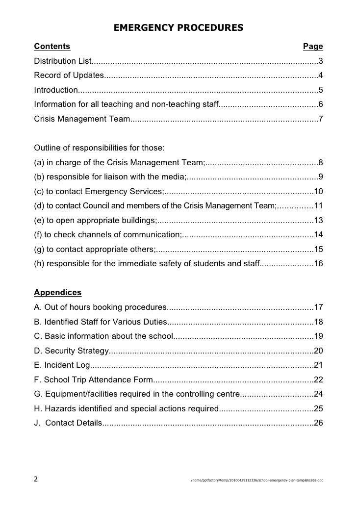 School Emergency Plan Template