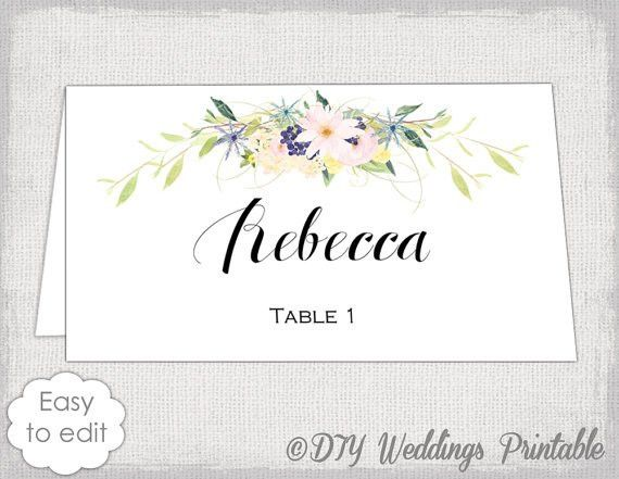 Place card template Eden name cards DIY flower