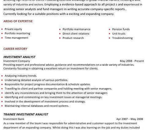 A professional two page investment analyst CV example Most Popular ...