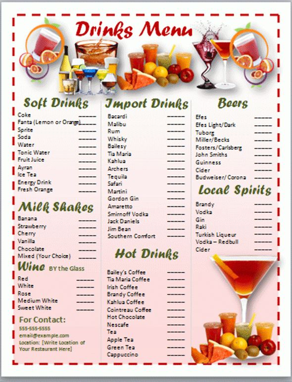 Drinks Menu Template Free  Drink Menu Templates Free Sample