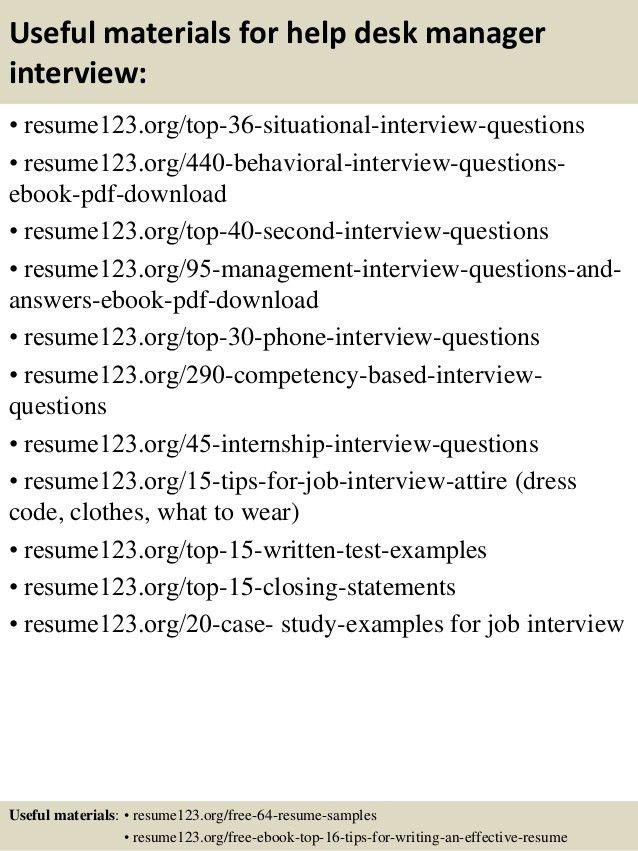 Top 8 help desk manager resume samples