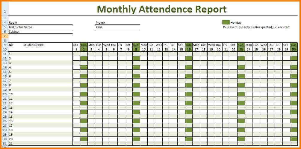 Attendance record template | Authorization Letter Pdf