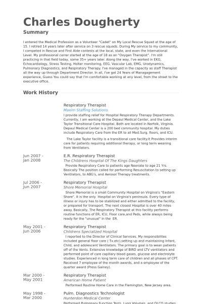 Respiratory Therapist Resume samples - VisualCV resume samples ...