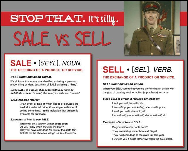 Stop that, it's silly. How to use: Sale vs Sell - Free Grammar ...