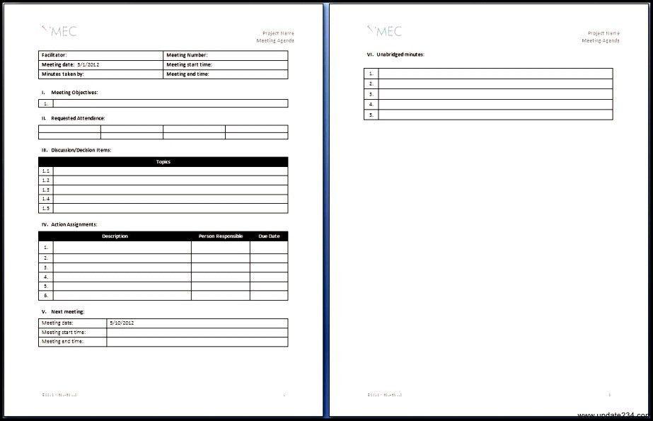 Daily Meeting Agenda Template - Template Update234.com - Template ...