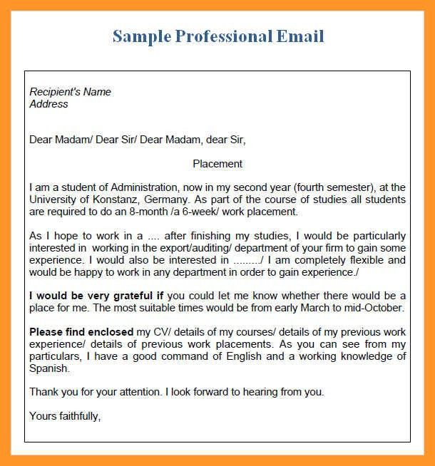 professional business email example | sop example