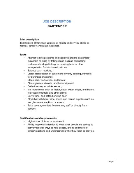 Bartender Job Description - Template & Sample Form | Biztree.com