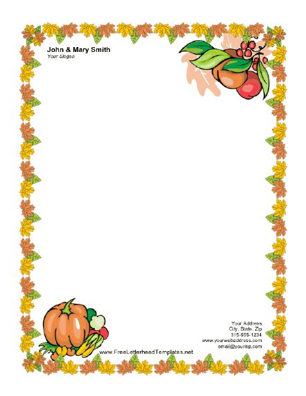 Thanksgiving Letterhead with Pumpkin Letterhead