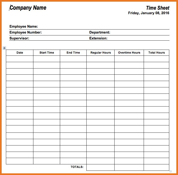 free blank time sheets